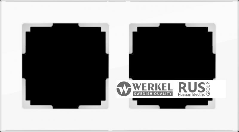 WL01-Frame-02-white / Рамка Favorit на 2 поста (стекло белое)