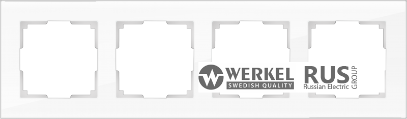 WL01-Frame-04-white / Рамка Favorit на 4 поста (стекло белое)