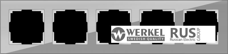 WL01-Frame-05 / Рамка Favorit на 5 постов (Серый, стекло)