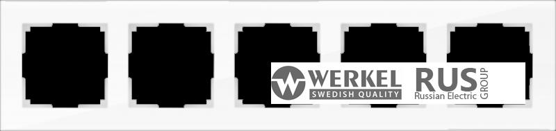 WL01-Frame-05-white / Рамка Favorit на 5 постов (стекло белое)