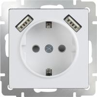 WL01-SKGS-USBx2-IP20 Розетка с заземлением, шторками и USB х2 (Белый) a033473