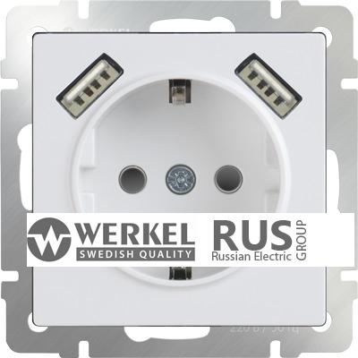 WL01-SKGS-USBx2-IP20 Розетка с заземлением, шторками и USB х2 (Белый)