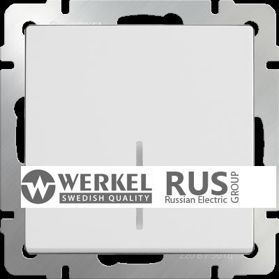 WL01-SW-1G-2W-LED / Выключатель одноклавишный проходной с подсветкой (белый) a030765
