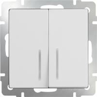 WL01-SW-2G-2W-LED / Выключатель двухклавишный проходной с подсветкой (белый)