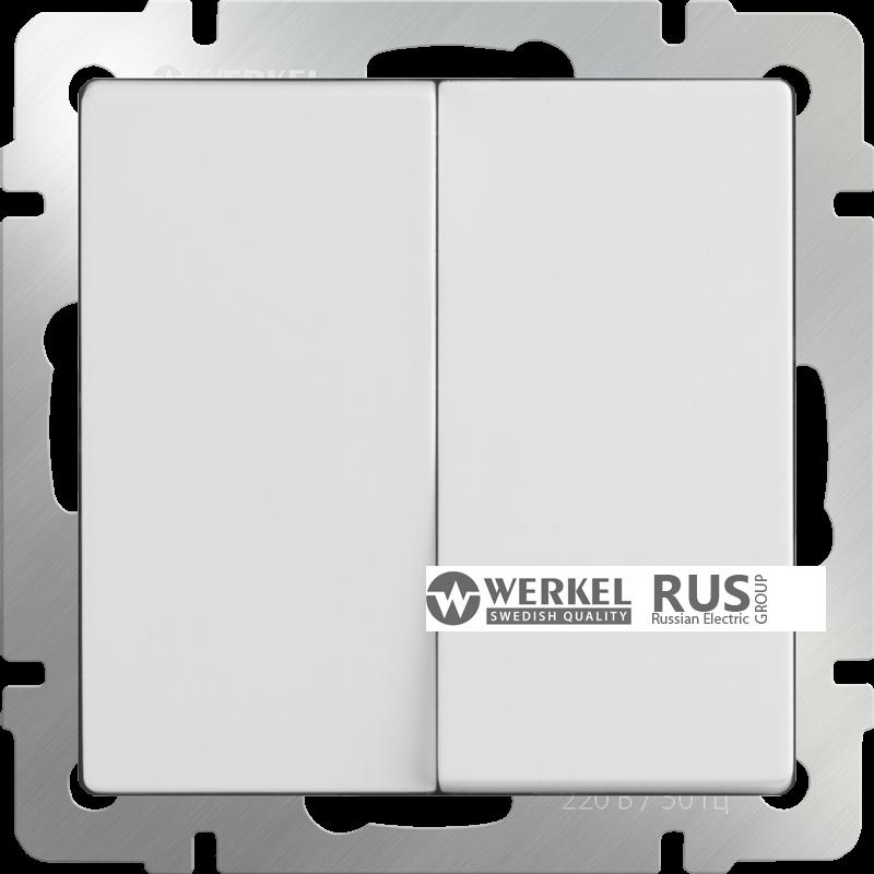 WL01-SW-2G-2W / Выключатель двухклавишный проходной (белый)