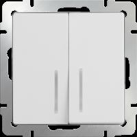 WL01-SW-2G-LED / Выключатель двухклавишный с подсветкой (белый) a030768