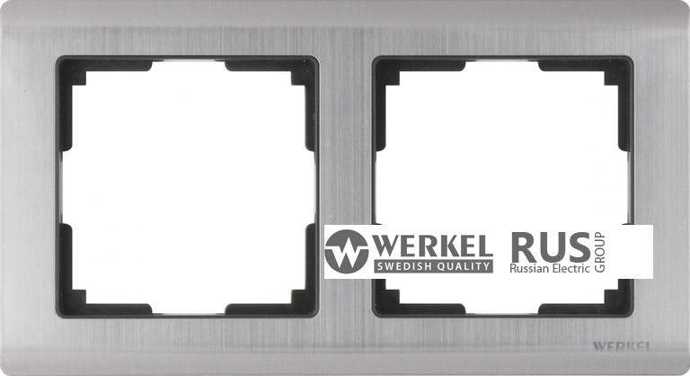 WL02-Frame-02 / Рамка Metallic на 2 поста (глянцевый никель)