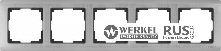 WL02-Frame-05 / Рамка Metallic на 5 постов (глянцевый никель)