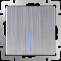 WL02-SW-1G-2W-LED / Выключатель одноклавишный проходной с подсветкой (глянцевый никель)