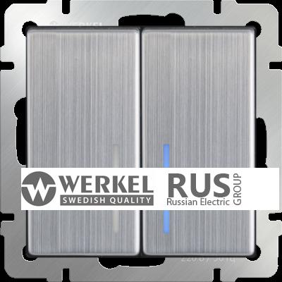 WL02-SW-2G-2W-LED / Выключатель двухклавишный проходной с подсветкой (глянцевый никель)