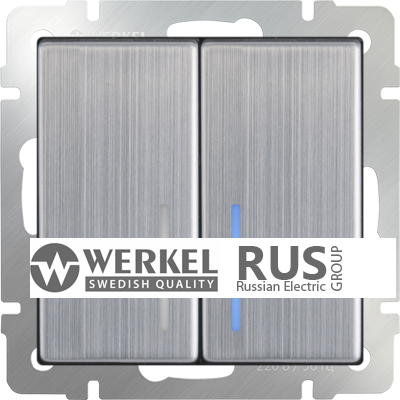 WL02-SW-2G-2W-LED / Выключатель двухклавишный проходной с подсветкой (глянцевый никель) a030793