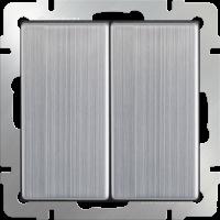 WL02-SW-2G-2W / Выключатель двухклавишный проходной (глянцевый никель)