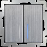 WL02-SW-2G-LED / Выключатель двухклавишный с подсветкой (глянцевый никель)