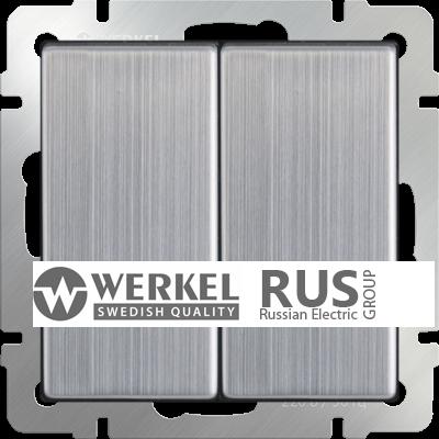 WL02-SW-2G / Выключатель двухклавишный (глянцевый никель)