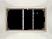 WL03-Frame-01-DBL-ivory-GD / Рамка для двойной розетки (Слоновая кость / золото) a035259