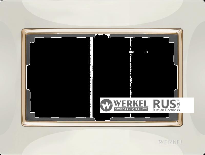 WL03-Frame-01-DBL-ivory-GD / Рамка для двойной розетки (Слоновая кость / золото)