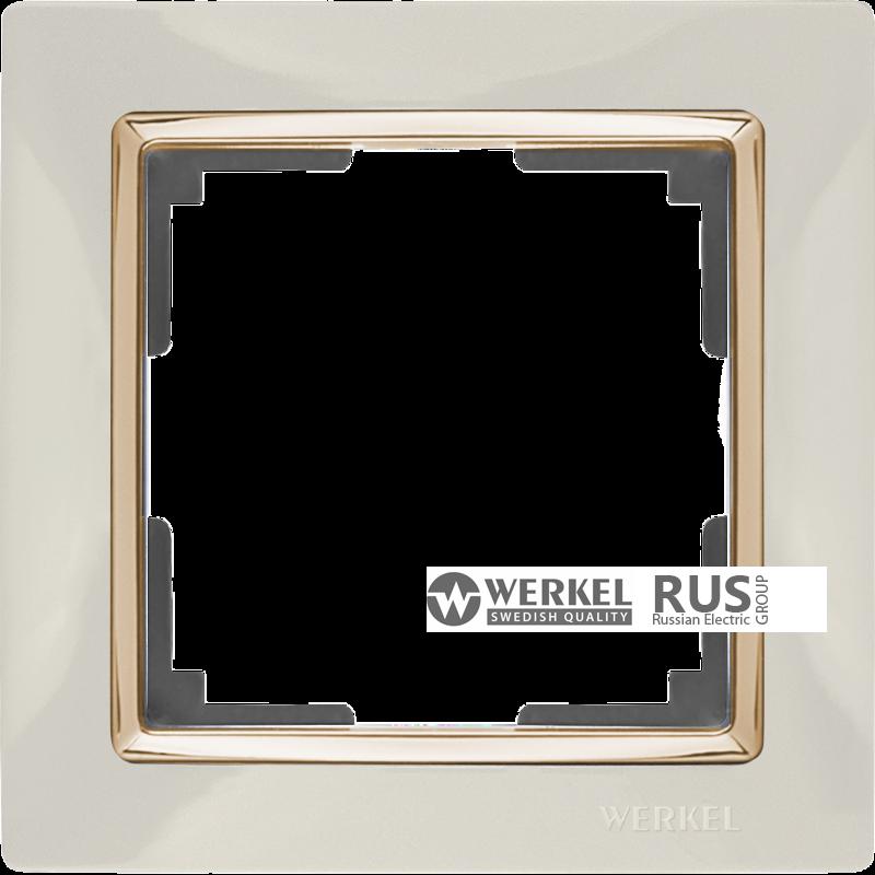 WL03-Frame-01-ivory-GD / Рамка на 1 пост (Слоновая кость / золото) a035247