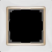 WL03-Frame-01-white-GD / Рамка на 1 пост (Белый / золото)