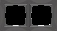 WL03-Frame-02-basic-grey / Рамка Snabb Basic 2 поста (серо-коричневый) a036699