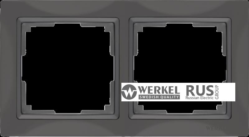 WL03-Frame-02-basic-grey / Рамка Snabb Basic 2 поста (серо-коричневый)