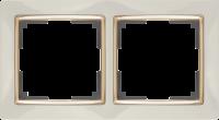 WL03-Frame-02-ivory-GD / Рамка на 2 поста (Слоновая кость / золото) a035248