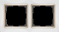 WL03-Frame-02-white-GD / Рамка на 2 поста (Белый / золото) a035253