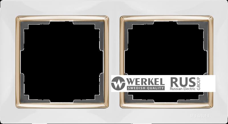 WL03-Frame-02-white-GD / Рамка на 2 поста (Белый / золото)