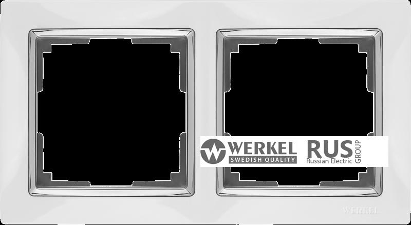 WL03-Frame-02-white / Рамка Snabb 2 поста (белый)