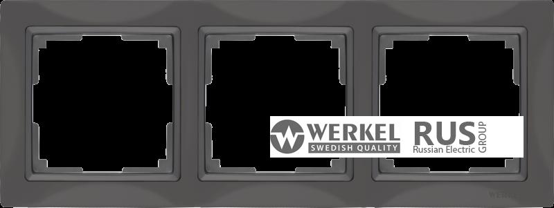 WL03-Frame-03-basic-grey / Рамка Snabb Basic 3 поста (серо-коричневый)
