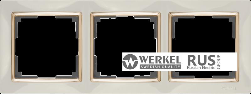 WL03-Frame-03-ivory-GD / Рамка на 3 поста (Слоновая кость / золото) a035249