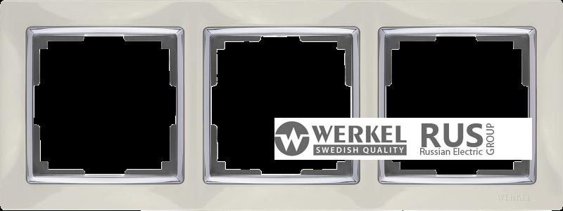 WL03-Frame-03-ivory / Рамка Snabb 3 поста (слоновая кость)