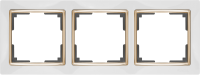 WL03-Frame-03-white-GD / Рамка на 3 поста (Белый / золото)