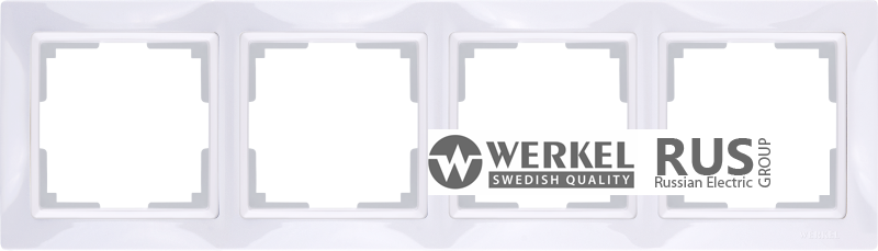 WL03-Frame-04-basic-white / Рамка Snabb Basic 4 поста (белый)