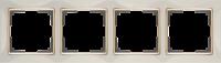 WL03-Frame-04-ivory-GD / Рамка на 4 поста (Слоновая кость / золото)