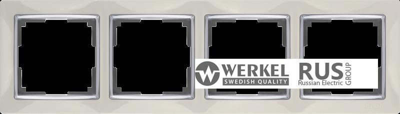 WL03-Frame-04-ivory / Рамка Snabb 4 поста (слоновая кость)