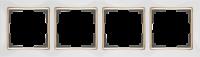 WL03-Frame-04-white-GD / Рамка на 4 поста (Белый / золото) a035255