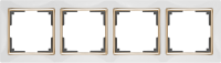 WL03-Frame-04-white-GD / Рамка на 4 поста (Белый / золото)