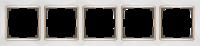 WL03-Frame-05-white-GD / Рамка на 5 постов (Белый / золото) a035257