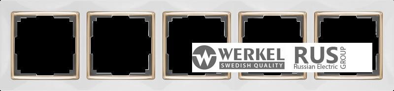 WL03-Frame-05-white-GD / Рамка на 5 постов (Белый / золото)