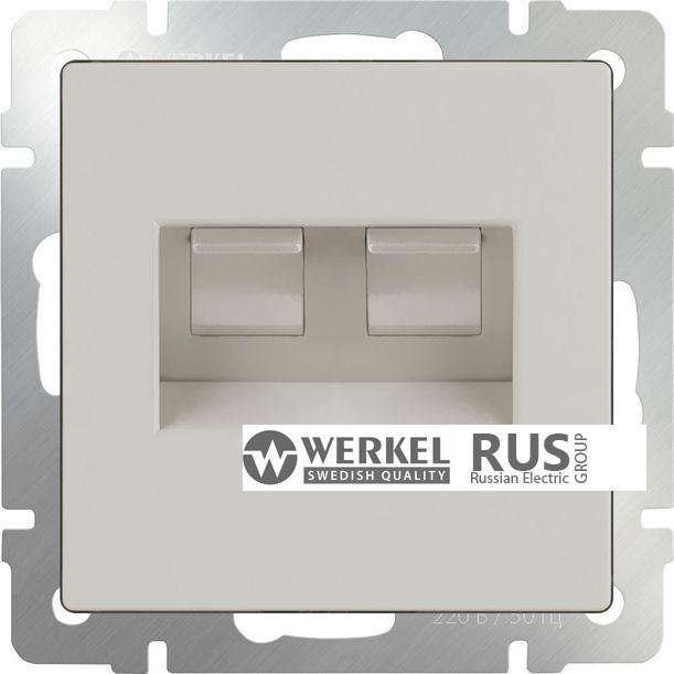 WL03-RJ11-45-ivory / Розетка телефонная RJ-11 и Еthernet RJ-45 (слоновая кость)