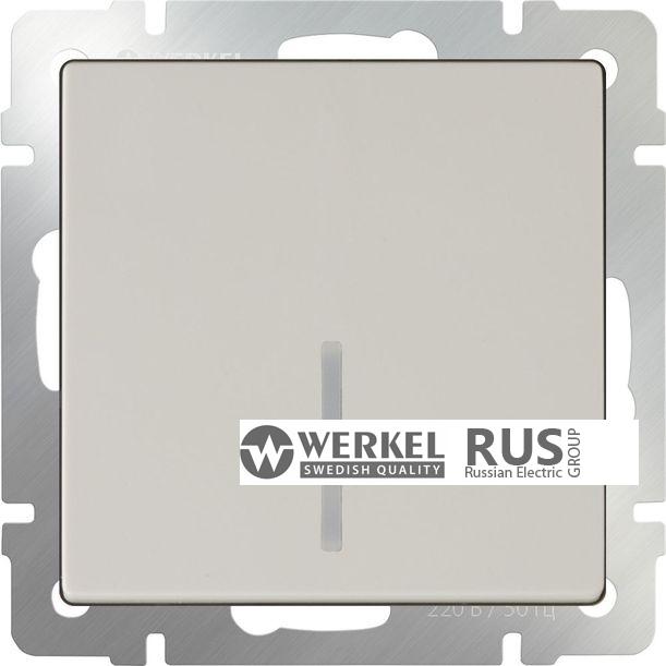 WL03-SW-1G-2W-LED-ivory / Выключатель одноклавишный проходной с подсветкой (слоновая кость)