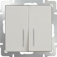 WL03-SW-2G-2W-LED-ivory / Выключатель двухклавишный проходной c с подсветкой (слоновая кость) a030806