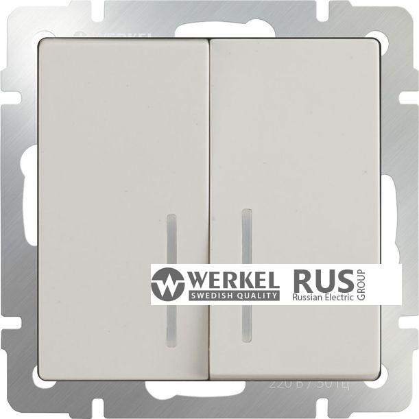 WL03-SW-2G-2W-LED-ivory / Выключатель двухклавишный проходной c с подсветкой (слоновая кость)