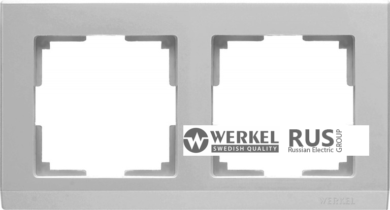 WL04-Frame-02 / Рамка Stark на 2 поста (Серебряный)