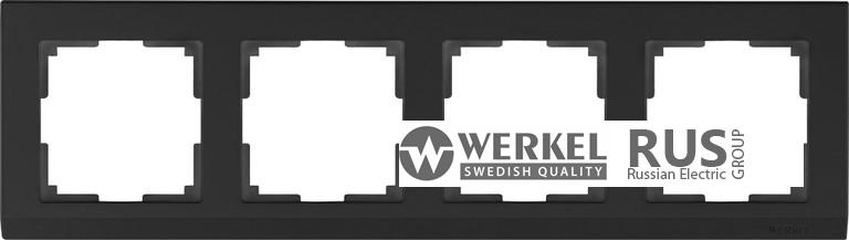 WL04-Frame-04-black / Рамка Stark на 4 поста (черный)