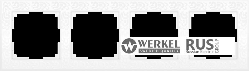 WL05-Frame-04-white / Рамка Flock на 4 поста (белый)