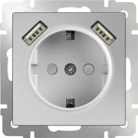 WL06-SKGS-USBx2-IP20 Розетка с заземлением, шторками и USB х2 (Серебряный)