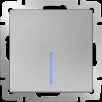 WL06-SW-1G-2W-LED / Выключатель одноклавишный проходной с подсветкой (серебряный)