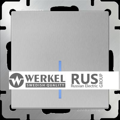 WL06-SW-1G-2W-LED / Выключатель одноклавишный проходной с подсветкой (серебряный) a029825