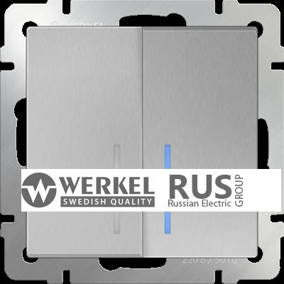 WL06-SW-2G-2W-LED / Выключатель двухклавишный проходной с подсветкой (серебряный)